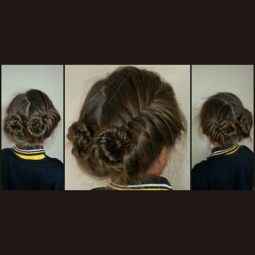 Two fish tail braids either side and pinned up pulled out a little. School hairstyles for girls.