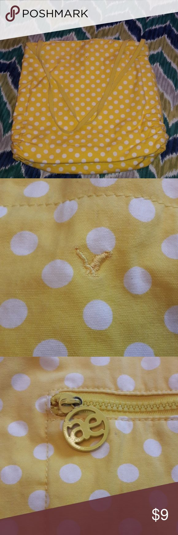 American Eagle Tote Yellow polka dots! American Eagle canvas yellow polka dot tote bag. 14 in tall 16 in wide. American Eagle Outfitters Bags Totes