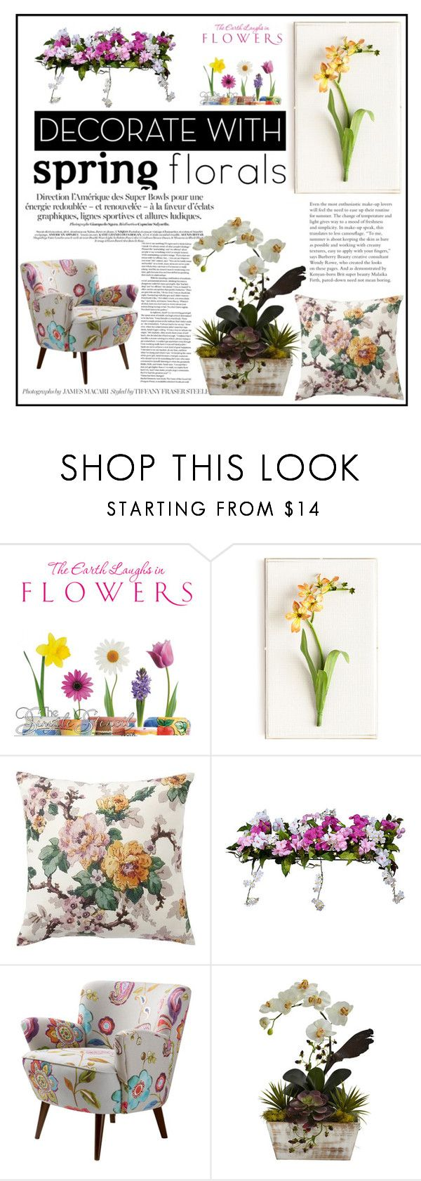 """Spring Florals #2"" by elisabetta-negro ❤ liked on Polyvore featuring interior, interiors, interior design, home, home decor, interior decorating, Tommy Mitchell, Pottery Barn, Improvements and Nearly Natural"