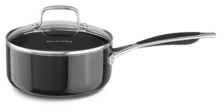 KitchenAid KCA20PLOB Aluminum Nonstick 2.0-Quart Saucepan with Lid Cookware - Onyx Black *** Unbelievable  item right here! : Saucepans