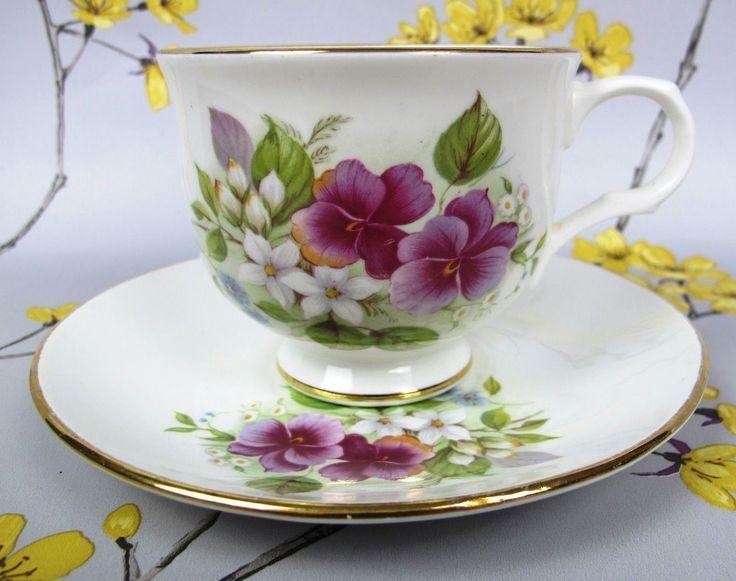 Vintage Sadler Wellington/Crown Trent tea cup & saucer. PANSY VIOLA. Bone china. 2
