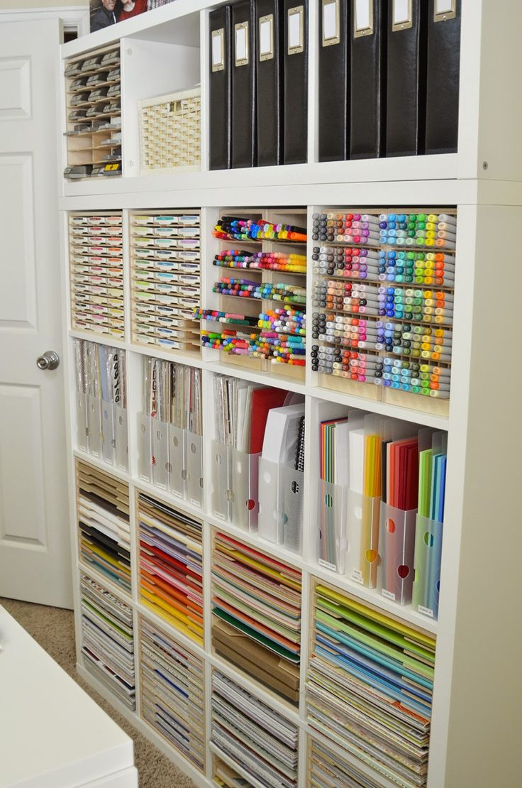 Jeanne S has beautifully organized her craft room with IKEA shelving and  Stamp-n-Storage cabinets that are designed just for the Kallax.