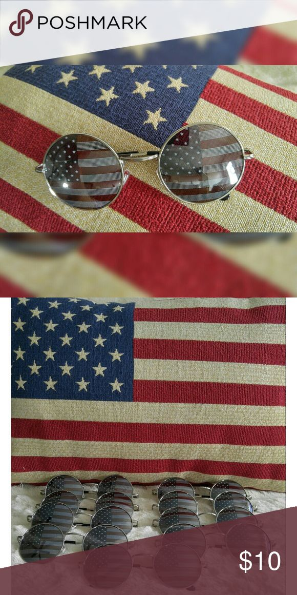 American Flag Printed Circle Framed Sunglasses American Flag Printed Circle Framed Sunglasses. Silver frames. New without tags. Accessories Sunglasses