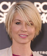 cool and casual hairdo is tapered into the neck for shape and style with jagged layers cut through the sides and back to achieve this fantastic hairdo best suited to frame a round face. This low-fuss hairstyle needs regular trims - Jenna Elfman Hairstyle