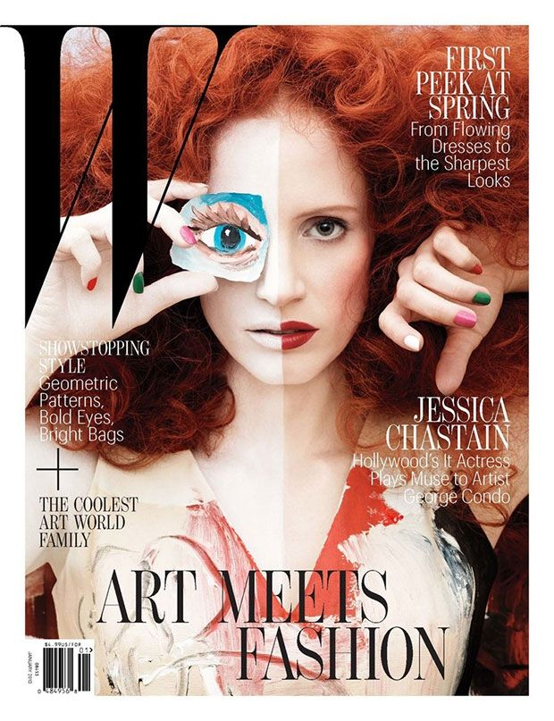 Jessica Chastain covers W Magazine, by George Condo