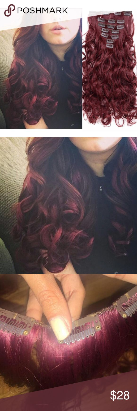 "Wine Red Clip ins 20"" Curly Full Head Clip in Synthetic Hair Extensions  7pcs 140g  Wine Red Accessories Hair Accessories"