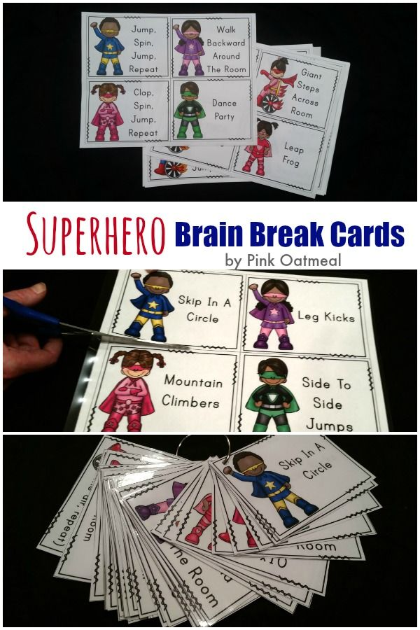 Get the kids moving with the Superhero theme!  These are perfect to go along with a Superhero theme or for use in the home or classroom!  Get the kids moving! - Pink Oatmeal
