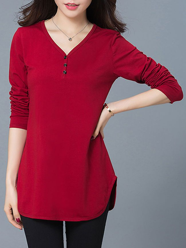 Designed V-Neck Side Slit Plain Plus Size T-Shirt