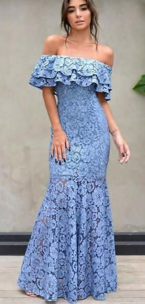Mermaid Off-the-Shoulder Blue Lace Prom Dresses with Ruffles, TYP1310