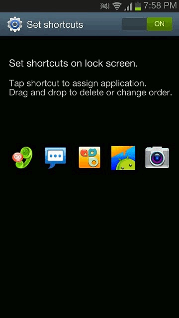 How To Customize Lock Screen Shortcuts On Samsung Galaxy Note 2 - P^i  Your Samsung Galaxy Note 2 also provides up to 4 application shortcuts that can be used to quickly access an application right from the lock screen.