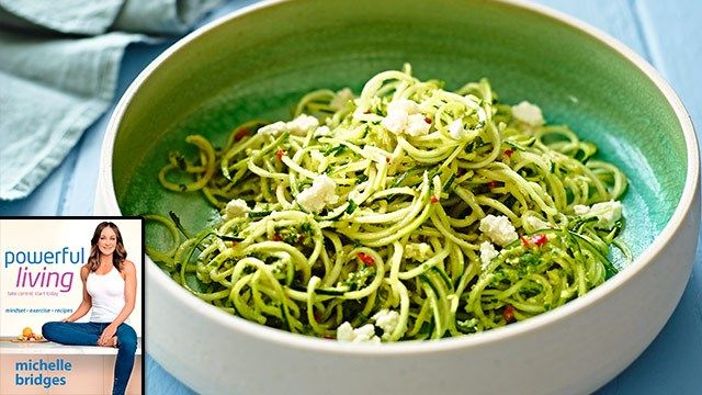 Michelle Bridges' Zucchini noodles with rocket, chilli and walnut pesto