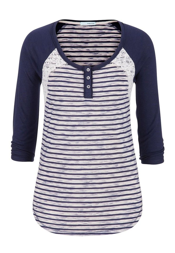 striped baseball tee with lace @ maurices