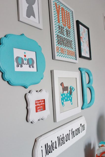 Delightfully Noted: Finally! Our Baby Boy's Aqua, Orange and TAN for you! Art work ideas Hobby Lobby