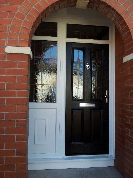 Composite door supplied and fitted. With custom design in side panel and door made with stick on lead and film.