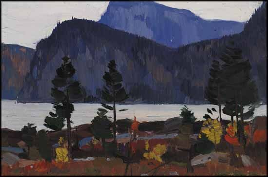 Lac Nissedal (Telemark), Norvège - Clarence Alphonse Gagnon CAC RCA 1881 - 1942 Canadian oil on panel 4 3/4 x 7 in 12.1 x 17.8 cm