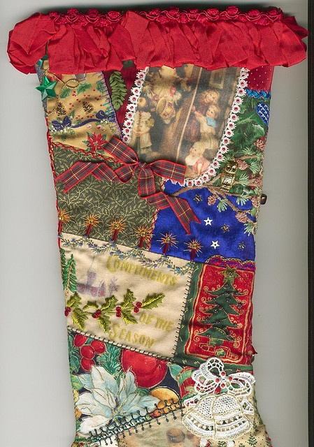 Crazy quilted Christmas stocking by Crazydolldresser, via Flickr