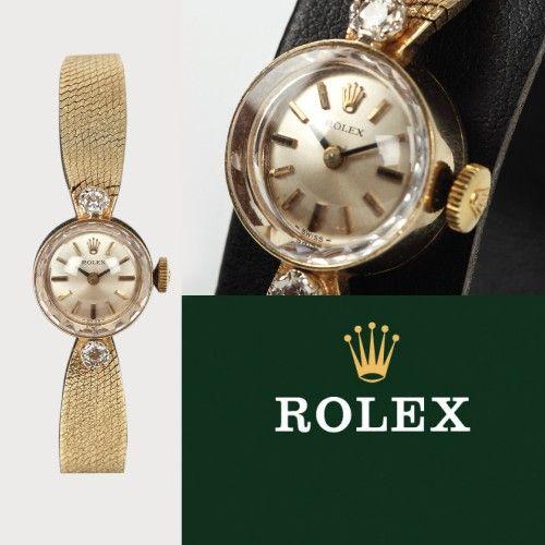 Ceas Rolex, de mână, de damă, din aur, decorat cu diamante A doua jumătate a sec. XX aur galben 14 k, d=1,5 cm Valoare estimativă: € 1.500 - 2.500