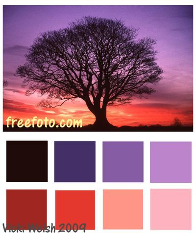 sunset color palette | Color Palette - Sunset Tree - Field Trips in Fiber - Adventures in ...