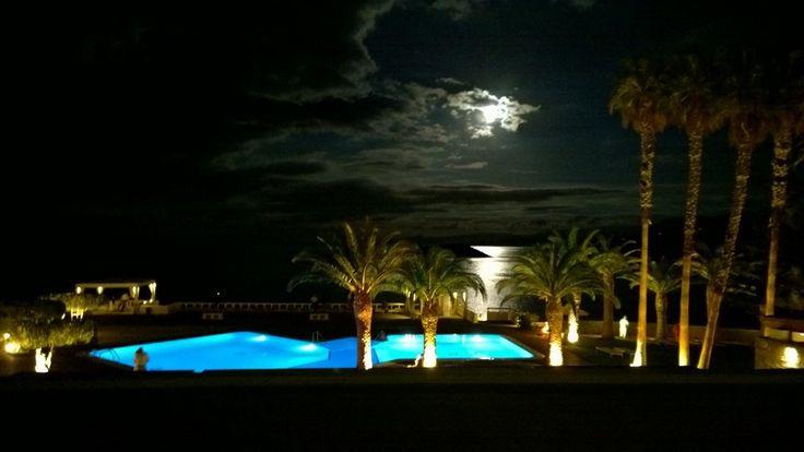 Full moon over the pool & Mediterranean