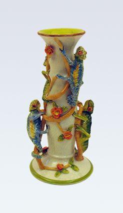 Chameleons on Vines candlestick - Ken Rowse