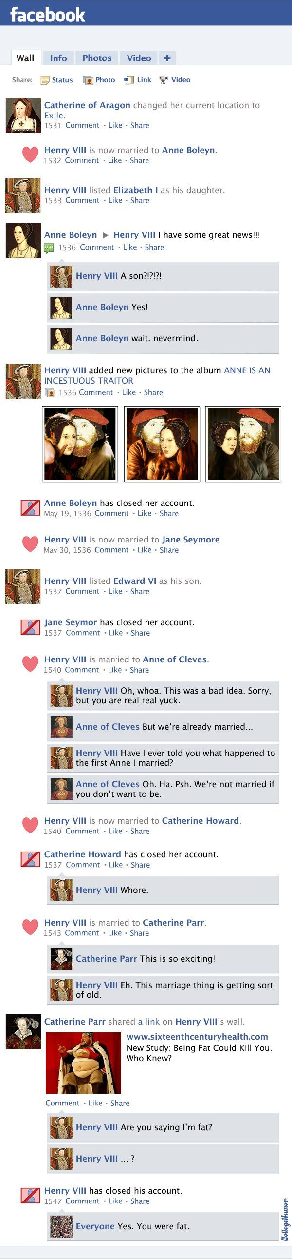Facebook News Feed History of the World: Protestant Reformation Through Queen Elizabeth I (Page 2) - CollegeHumor Post