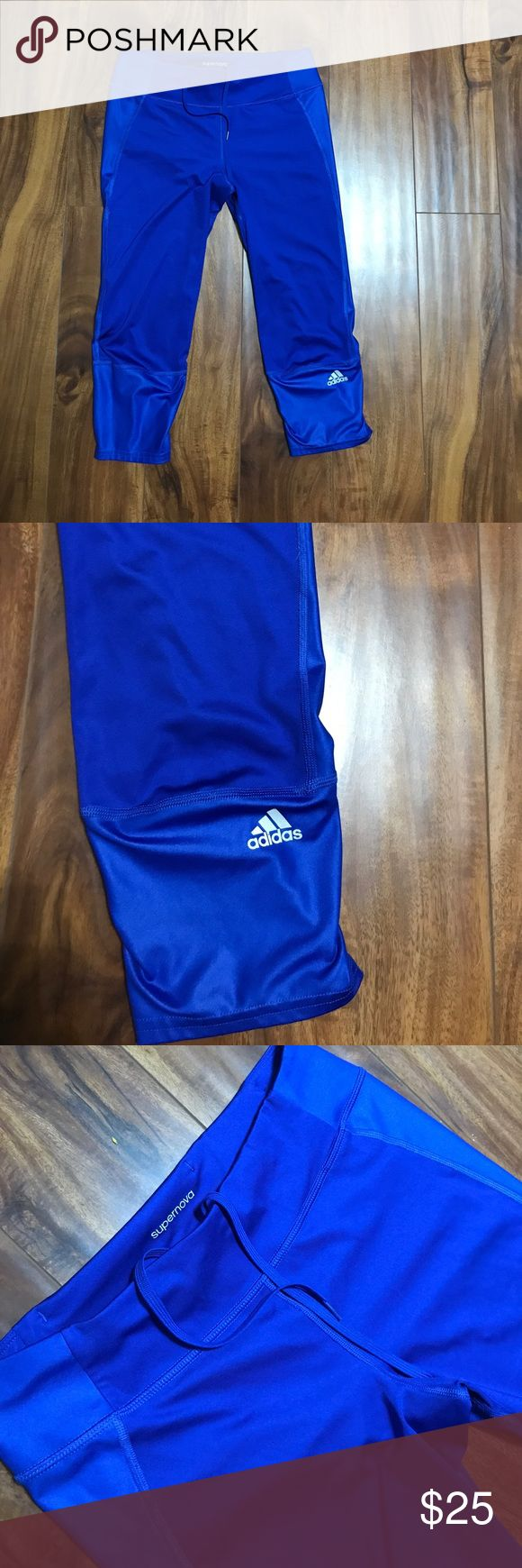 Adidas supernova leggings Awesome leggings! Royal blue color. Soft dri fit material.  Cropped. Wide waistband. Just awesome. Too big for me. adidas Pants Leggings