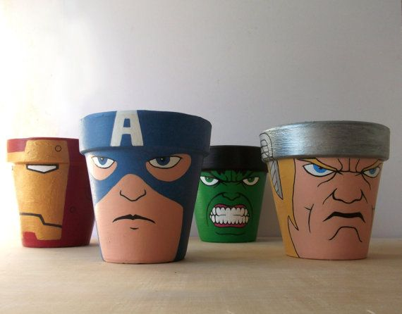 Cool gift idea - paint pots with Avenger characters - Etsy $64.00 for the set.