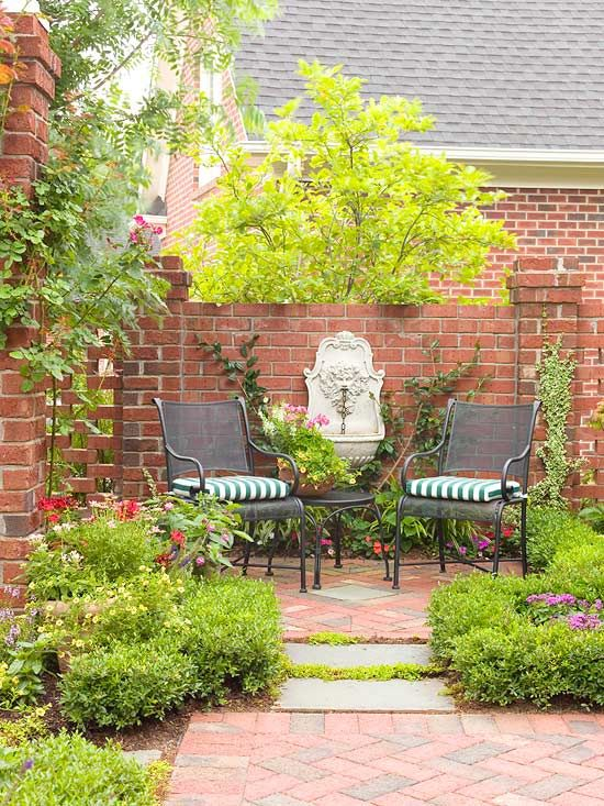 Even the smallest landscape will be improved by the mellow sound of trickling water. If you don't have enough space for a water garden, add a fountain or two in key locations in the yard. Be sure to have an electrical outlet nearby to plug in the fountain. In this slice of a brick courtyard, an ornamental wall-mounted fountain acts as a sparkling focal point.