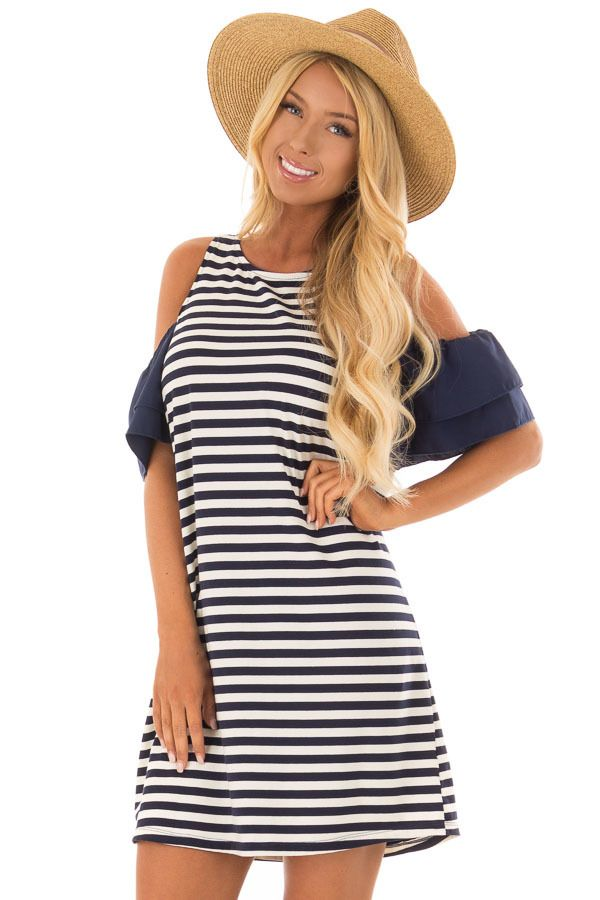 f6e577b0b765d8 Lime Lush Boutique - Navy and White Stripe Cold Shoulder Dress