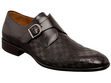 Mezlan Shoes Mens Black Laser Pattern Monk Strap Shoe Celio