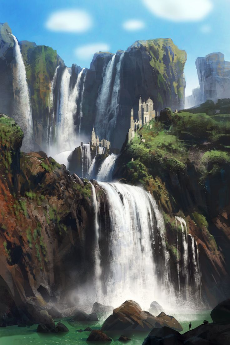 98 best fantasy landscapes images on pinterest fantasy for Waterfall environment