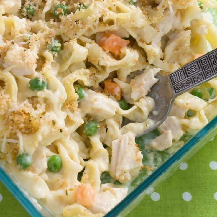 This quick chicken casserole is a great way to use up leftover chicken. Its made with simple shortcut ingredients.