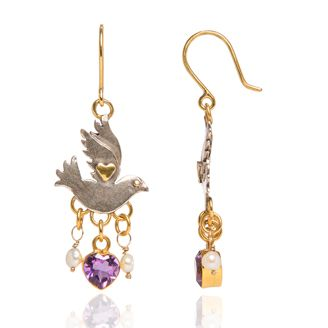 Paloma Jewel Earrings.  Dove earrings with pearl and amethyst heart drops in silver with gold plated detail.   Sophie Harley, Beautiful Designer PE63 from the Papillion Rose collection.