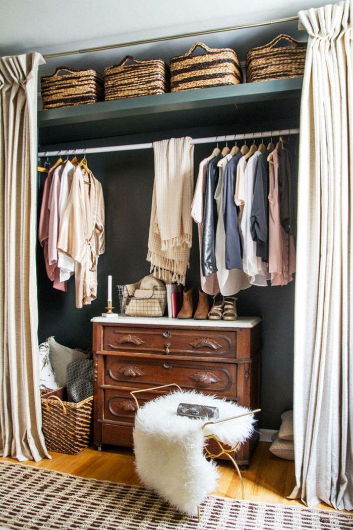 Raum Ohne Kleiderschrank Mit Vorhang Ankleidezimmer Planen Nische