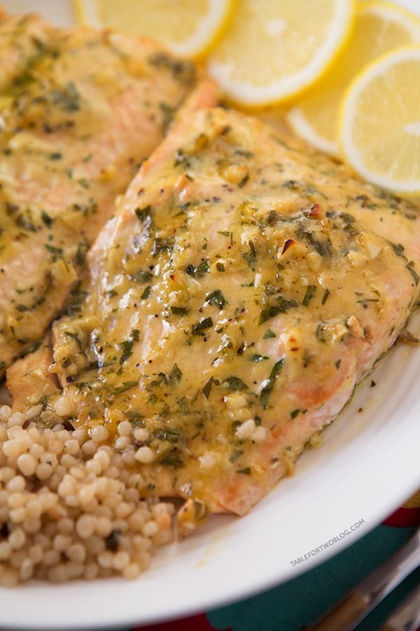Baked Salmon with Honey Dijon and Garlic | tablefortwoblog.com