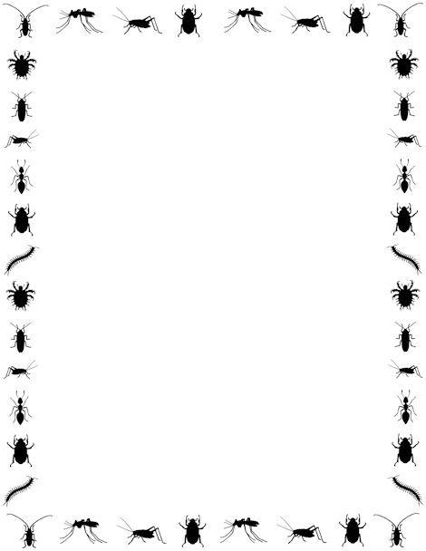 An insect page border. Free downloads at http://pageborders.org/download/insect-border/