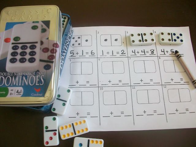 Fun math practice using dominoes or playing cards, with free printables.