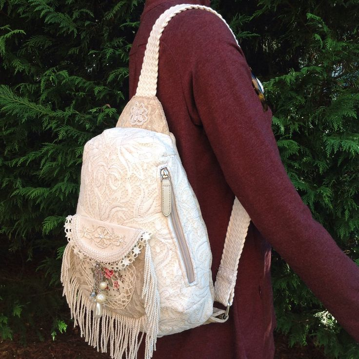 Handmade lace Victorian style boho over the shoulder sling bag.  Made from recycled materials.