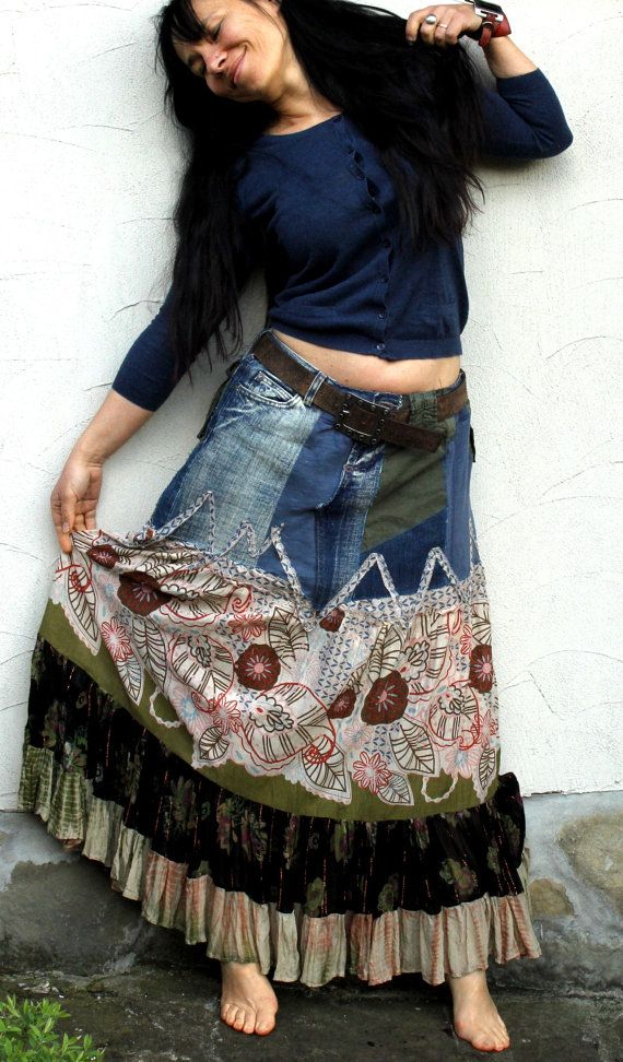 L-XL long skirt. Made from recycled jeans and India fabrics. Remade, reused and upcycled. Fantasy hippie boho style. Size: L-XL (40-42)  Waist line