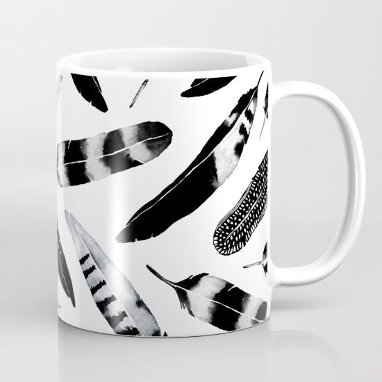Frozen Feather Mug Black and White feather pattern design. @society6  Watercolor and digital feather design. Bohemian inspired Black and White pattern. #art #blackandwhite #feathers #feather #pattern #decor #home #living #design #minimal #abstract #bohostyle #bohemiandecor #fashion #society6 #mug #coffeelovers