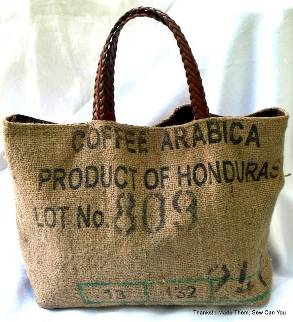 Thanks! I made them!: Coffee Bean Sacks Repurposed into Handbags.