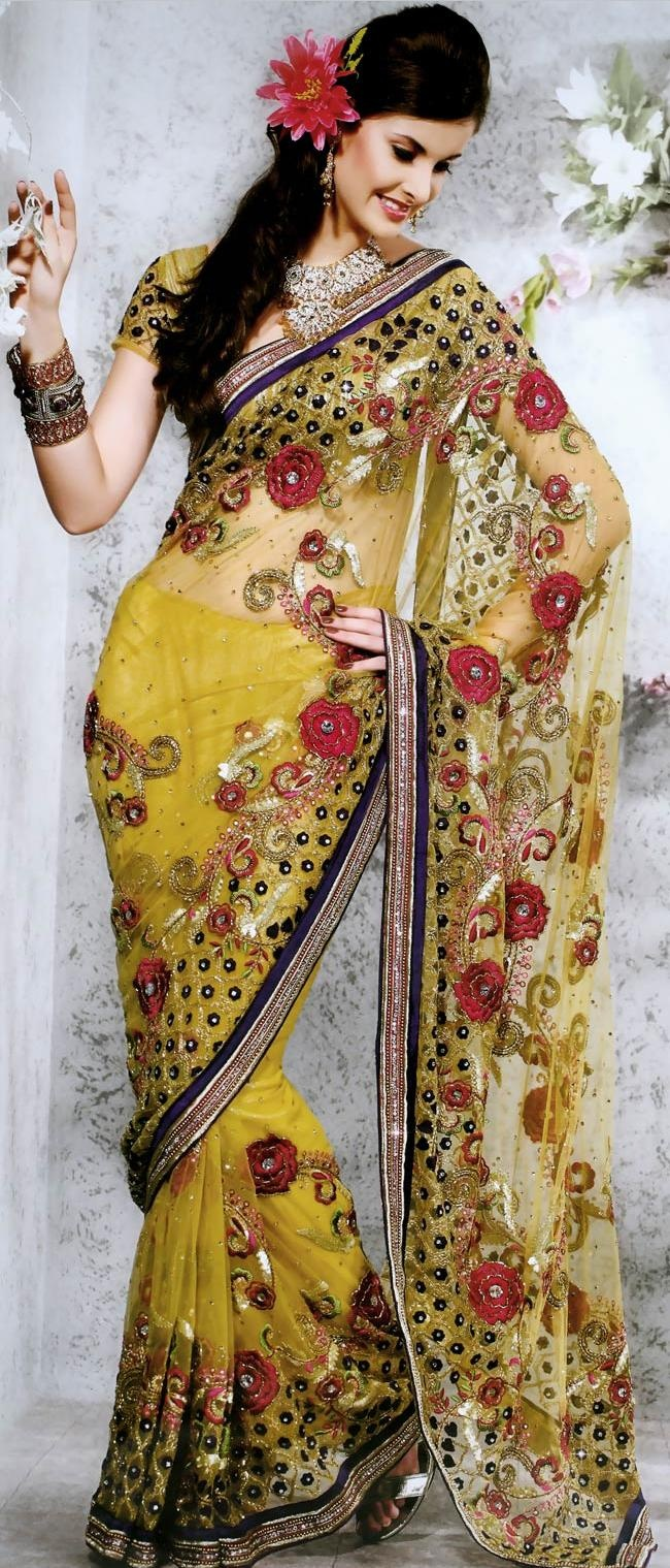 #Yellow Net #Saree with #Blouse @ US $260.36