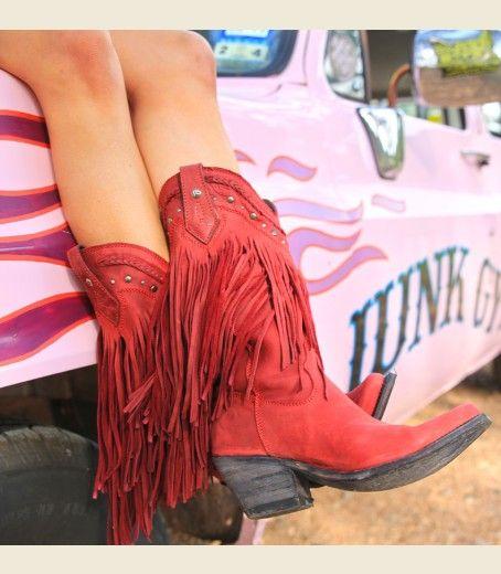 the RaMBLeR frinGE boot-cRimSON-PRE ORDer NOW!!!! $335.00 (more expensive at Allen's) - Brand: Liberty Black