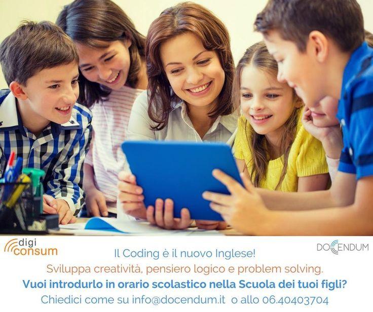 Il coding è il nuovo Inglese! Sviluppa creatività, pensiero logico e problem solving. Vuoi introdurlo in orario scolastico nella Scuola dei tuoi figli?                 Chiedici come su info@docendum.it o allo 06.4040370