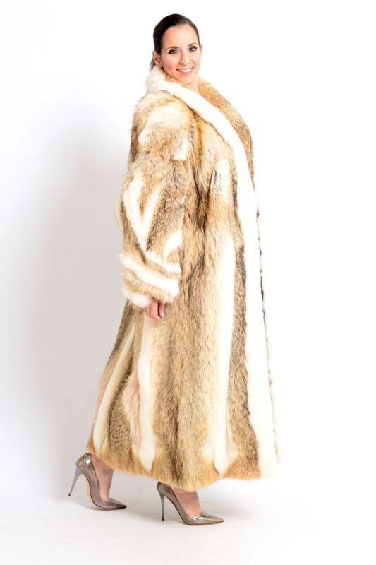 LOOKS LIKE LYNX - AMAZING FOX FUR COAT RED AND BLUE - VERY LONG - NO HOPKA MINK