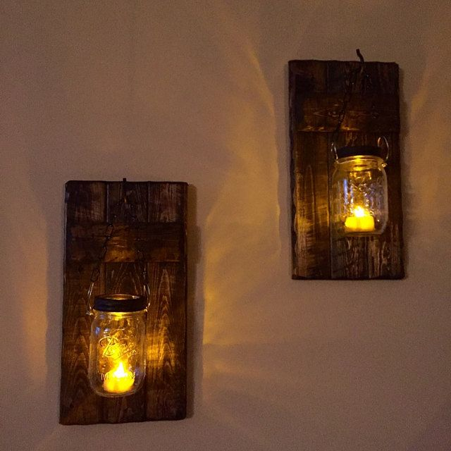 sconces Rustic Home  Decor Set Hanging Candle Holders Rustic Wood Decor Mason Jar wood candle Mason Jar Decor candle holder