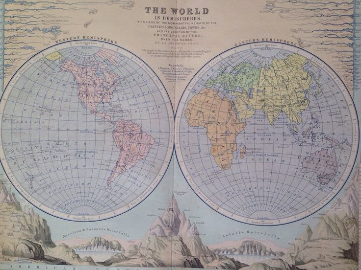Best 50 world maps images on pinterest mapas antiguos mapas del 1873 original antique world in hemispheres map with comparative heights of mountains and lengths of rivers gumiabroncs