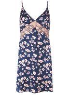 Womens Floral Satin Slip Dress- Multi Colour