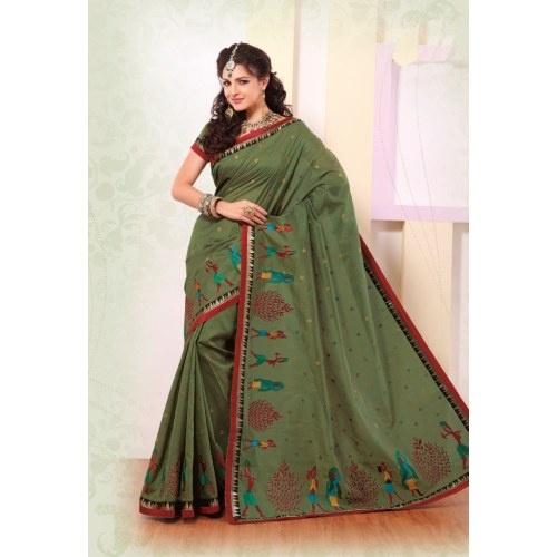 Strollay Mehandi Green Banarasi Silk Festival Saree