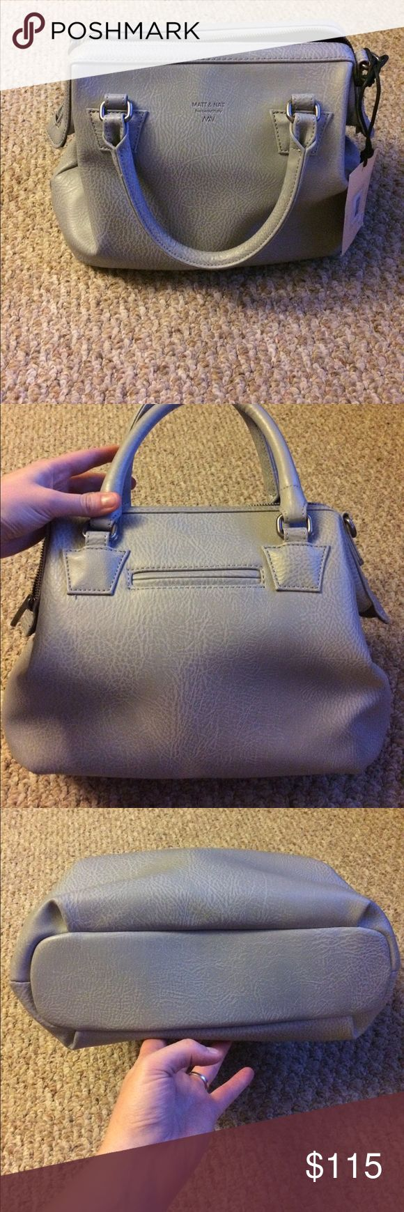 "Matt and Nat Malone Satchel- NWT Color is ""storm."" Lovely light grey vegan ""leather."" Comes with long adjustable shoulder strap. matt and nat Bags Satchels"